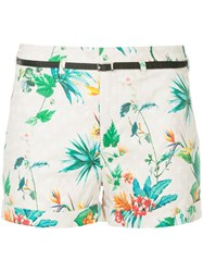 Loveless Tropical Print Belted Shorts Pink And Purple