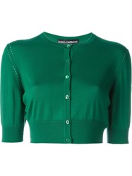 Dolce And Gabbana Perforated Panelled Cropped Cardigan Green
