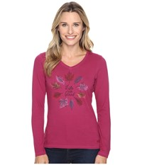 Life Is Good Circle Leaf Long Sleeve Crusher Vee Wild Plum Women's Long Sleeve Pullover Burgundy