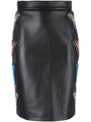 Philipp Plein Embroidered Butterfly Pencil Skirt Black