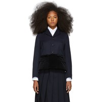 Comme Des Garcons Girl Navy And Black Panelled Blazer
