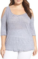Three Dots Plus Size Women's Stripe Linen Knit Cold Shoulder Top