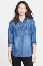 Women's Halogen Long Sleeve Chambray Shirt Dark Indigo