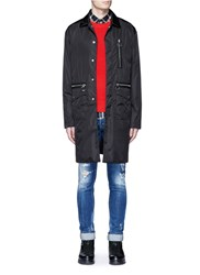 Dsquared Nylon Bomber Trench Coat Black