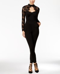Material Girl Juniors' Lace Detail Illusion Jumpsuit Only At Macy's Black