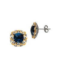 Lord And Taylor Diamond Blue Topaz 14K Yellow Gold Sterling Silver Earrings