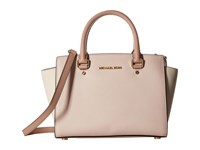 Michael Michael Kors Selma Medium Top Zip Satchel Soft Pink Ecru Fawn Satchel Handbags