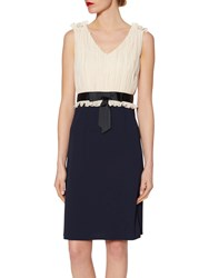 Gina Bacconi Crepe Dress With Pleated Chiffon Bodice Spring Navy Butter Cream