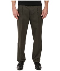 Dockers Signature Stretch Classic Pleat Olive Grove Men's Casual Pants Brown