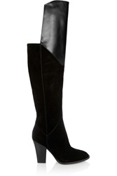 Maje Leather Paneled Suede Over The Knee Boots Black