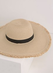 Mint Velvet Black Stripe Floppy Hat White