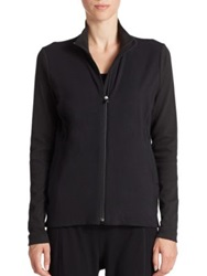 Eileen Fisher Stretch Cotton Zip Front Jacket Black