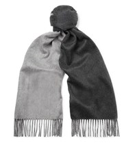 Johnstons Of Elgin Reversible Fringed Cashmere Scarf Charcoal