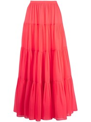 Valentino Long Tiered Skirt Pink