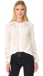 Veronica Beard Alma Embroidered Sleeve Blouse Off White