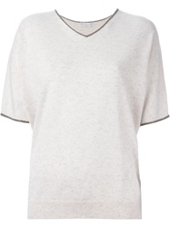 Brunello Cucinelli V Neck Loose Fit T Shirt Nude And Neutrals