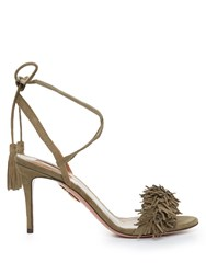 Aquazzura Wild Thing Suede Fringed Sandals Khaki