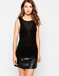 French Connection Polly Plains Classic Sleeveless V Neck Top Black