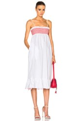 Lisa Marie Fernandez Smocked Slip Dress In White