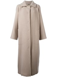 Alberta Ferretti Embroidered Single Breasted Coat Nude Neutrals