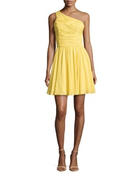 Halston Heritage One Shoulder Ruched Dress Dandelion