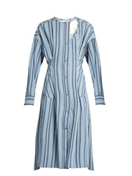 Isabel Marant Selby Button Through Striped Dress Blue Multi