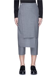 By Walid 'Rana' Wrap Front Cropped Wool Pants Grey