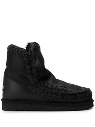 Mou Knitted Detail Boots Black