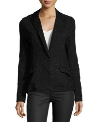Three Dots Knit One Button Blazer Black