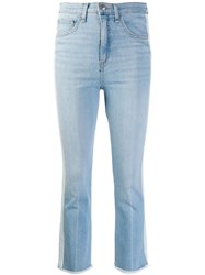 Veronica Beard Mid Rise Stripe Cropped Jeans Blue