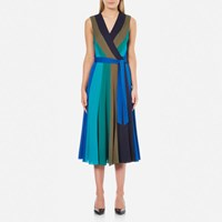 Diane Von Furstenberg Women's Penelope Dress Deep Night Olive Sea Green Neptune Black Blue Green Black