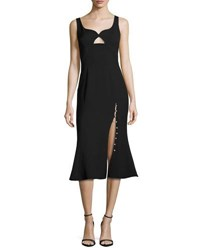Prabal Gurung Sweetheart Flounce Hem Midi Dress Black