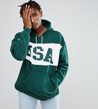 Reclaimed Vintage Inspired Hoodie With Usa Print Green