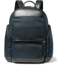 Montblanc Nightflight Leather Trimmed Canvas Backpack Blue