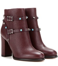 Valentino Rockstud Rolling Leather Ankle Boots Red