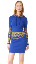 Moschino Hooded Dress Fantasy Print Blue