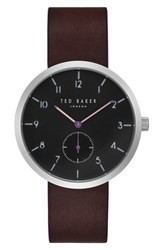 Ted Baker Men's London Josh Subeye Leather Strap Watch 42Mm Grey Dark Brown