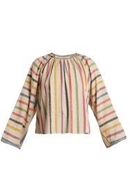 Ace And Jig Farrah Gathered Neck Striped Cotton Blouse Beige Multi