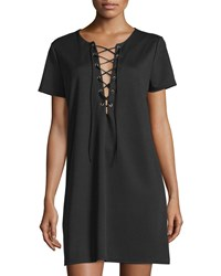 Romeo And Juliet Couture Lace Up Crepe T Shirt Dress Black