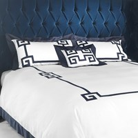 Gianfranco Ferre Greek Key Duvet Set Double Blue