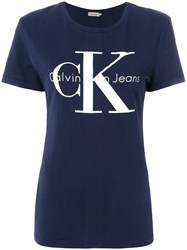 Ck Calvin Klein Jeans Logo Patch T Shirt Blue