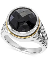 Effy Collection Effy Onyx 5 7 8 Ct. T.W. Braid Ring In Sterling Silver And 18K Gold