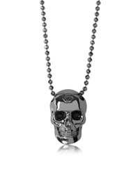 Philipp Plein Black Silver Tone Metal Skull Necklace W Black Crystals