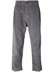 Casey Casey Cropped Tapered Trousers Cotton Linen Flax L Grey
