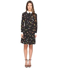 The Kooples Camelia Dots Print On Silk Crepe De Chine Black Women's Clothing