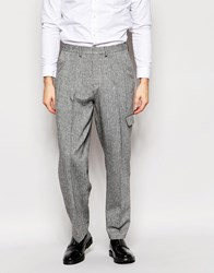 Asos Wide Leg Smart Trousers In Tweed With Pocket In Grey Grey