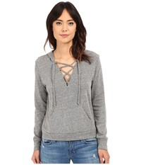 Lanston Lace Up Hoodie Heather Women's Sweatshirt Gray