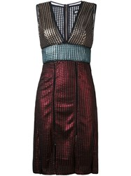 House Of Holland 'Chainmail' Paneled Dress Multicolour
