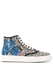 Salvatore Ferragamo Hi Top Logo Palm Print Sneakers Neutrals