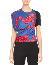 Atlein Floral Draped Jersey Top Black Pattern